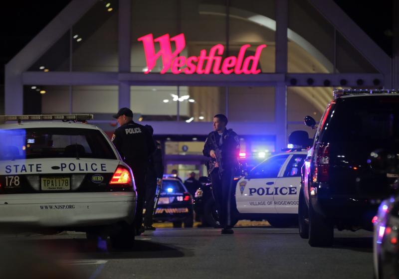 Police secure the area after reports that a gunman fired shots at the Garden State Plaza mall in Paramus, New Jersey, November 4, 2013. A person with a gun opened fire on Monday evening in the New Jersey shopping mall shortly before closing time in the town of Paramus, and the mall was being evacuated, a county official said. REUTERS/Ray Stubblebine (UNITED STATES - Tags: CIVIL UNREST CRIME LAW)