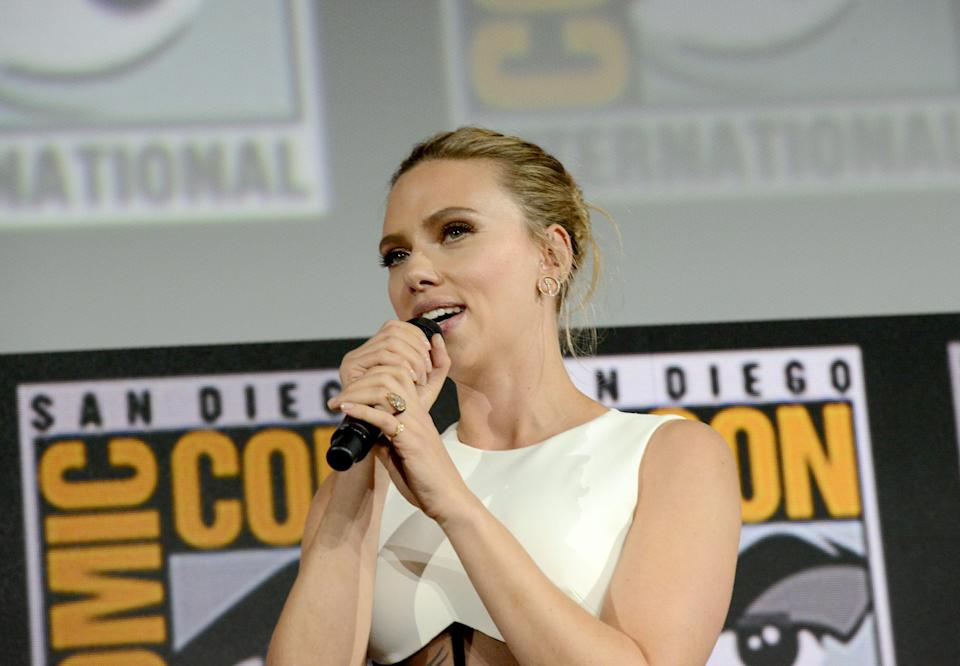 Scarlett Johansson wears her new engagement ring at the Marvel Studios Panel during Comic-Con on July 20.