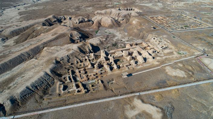 An aerial photo shows the archaeological site of Ur amid preparations for Pope Francis' visit near Nasiriyah, Iraq, Saturday, March 6, 2021. Pope Francis arrived in Iraq on Friday to urge the country's dwindling number of Christians to stay put and help rebuild the country after years of war and persecution, brushing aside the coronavirus pandemic and security concerns to make his first-ever papal visit. (AP Photo/Nabil al-Jourani)