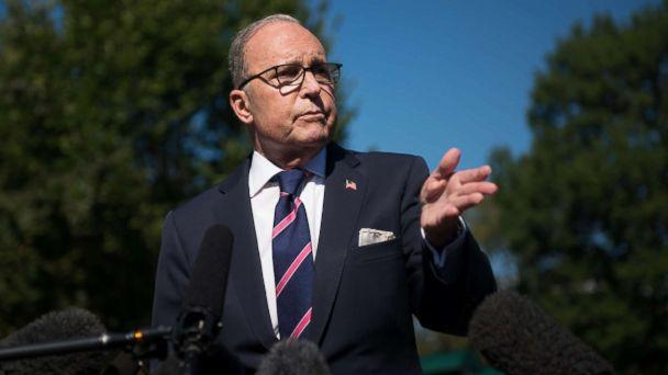 PHOTO: White House National Economic Advisor Larry Kudlow speaks with members of the press outside the White House in Washington, Oct. 12, 2018. (Erin Scott//Polaris)