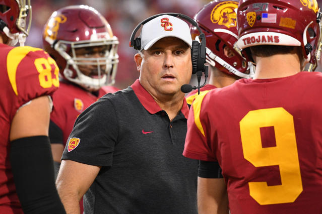 USC Trojans head coach Clay Helton looks on during a college football game between the Oregon Ducks and the USC Trojans on Nov. 2, 2019. (Brian Rothmuller/Getty Images)