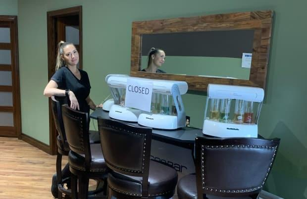 The oxygen bar at Gold Tan & Sunset Spa in Mississauga has been closed since the pandemic began. It's the only type of business still required to stay closed by the Ontario government, under the province's reopening plan. 'We haven't been told really why either,' says Julie Baker, the spa's owner. (Submitted by Julie Baker - image credit)