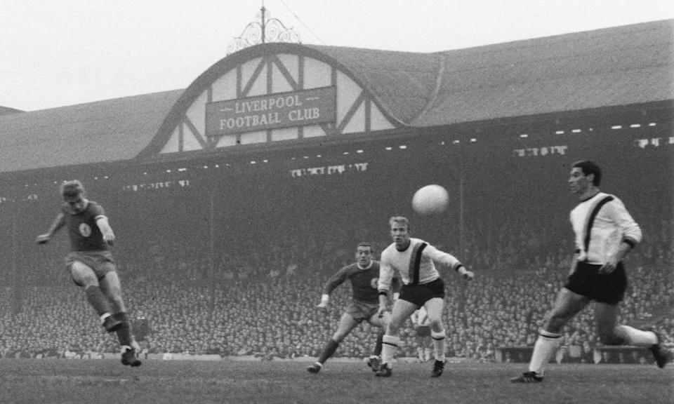 Roger Hunt fires home Liverpool's first goal during the 3-1 win in the first leg of their European Cup semi-final against Internazionale at Anfield in May 1965