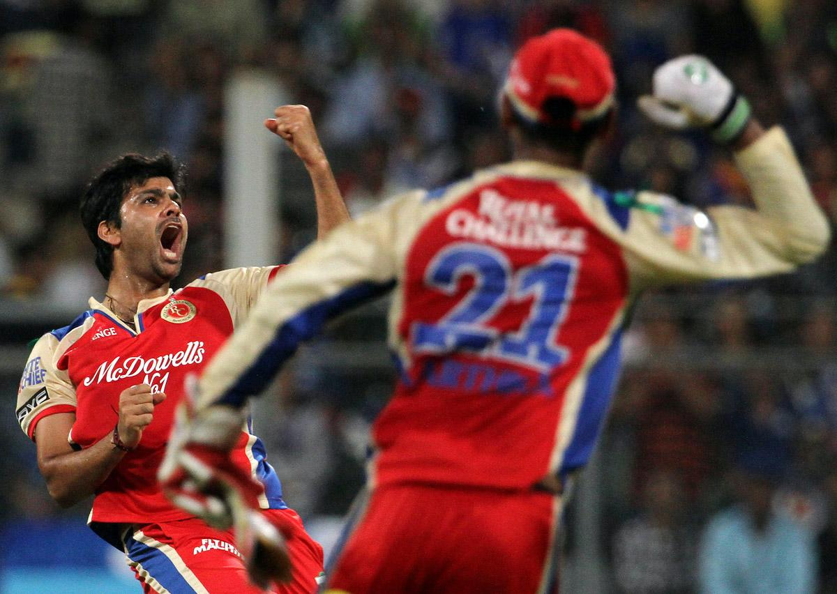 Royal Challengers Bangalore player Rudra Pratap Singh celebrates after he take the wicket of Mumbai Indian player Sachin Tendulkar during match 37 of the Pepsi Indian Premier League ( IPL) 2013  between The Mumbai Indians and the Royal Challengers Bangalore held at the Wankhede Stadium in Mumbai on the 27th April 2013. (BCCI)