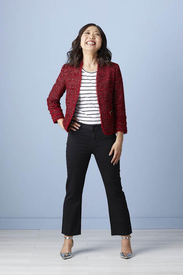 "<p>When in doubt, combine a tweed jacket with well-fitting dark wash jeans. The result is polished. Because Lainie is petite, these jeans are best worn with heels-otherwise, they become floods. It's the perfect look for a mom who's active in school functions.</p><p><strong>Lainie says:</strong> ""I never would have chosen the cut of these pants on my own, but I love them. And the silver shoes with the pointed toes are comfortable and cute. My go-to is round-toed boots, so this is a nice change.""</p>"