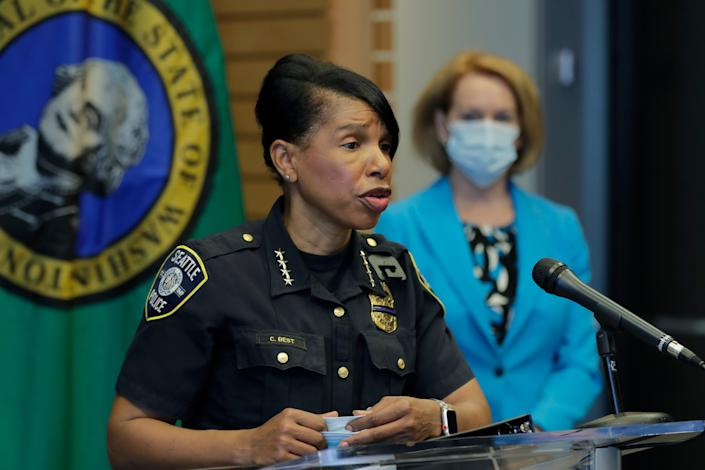 """""""I am confident the department will make it through these difficult times,"""" Seattle Police Chief Carmen Best wrote in her resignation letter."""