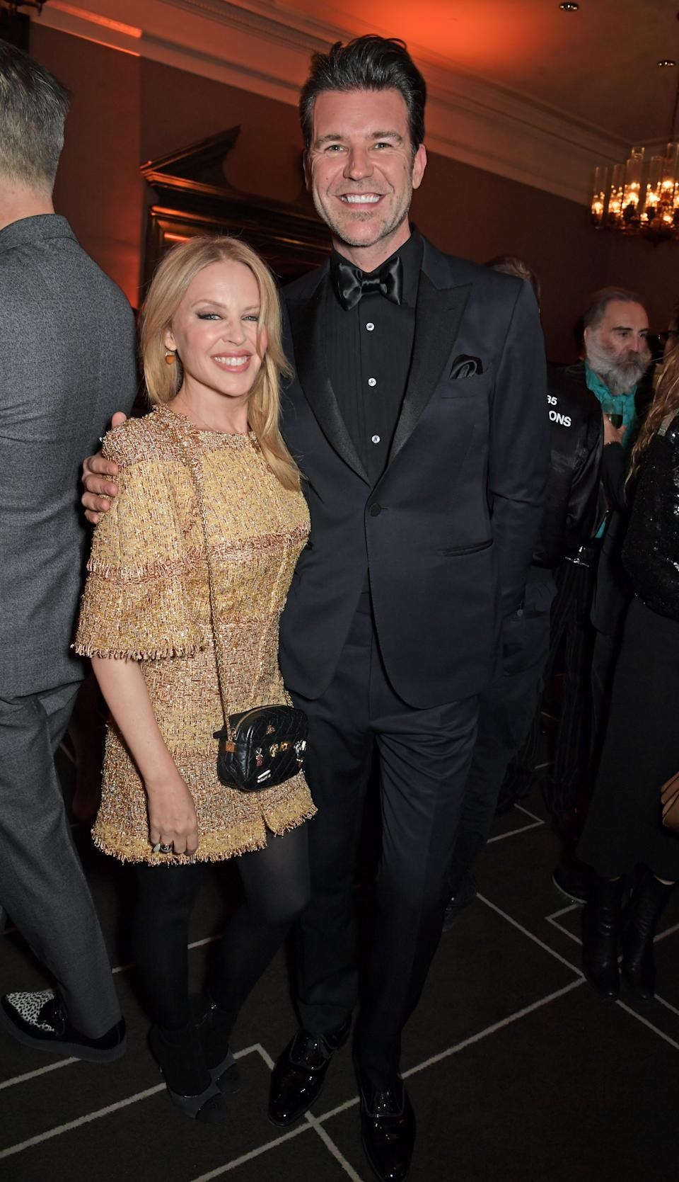 Kylie Minogue and Paul Solomons pose, return to Melbourne January 2021 on back of engagement rumours