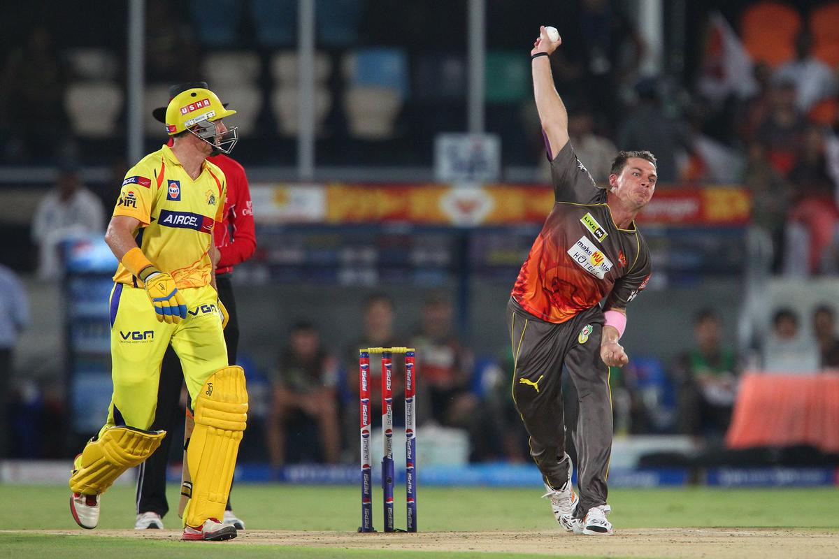 Dale Steyn bowls during match 54 of the Pepsi Indian Premier League between The Sunrisers Hyderabad and Chennai Superkings held at the Rajiv Gandhi International  Stadium, Hyderabad  on the 8th May 2013..Photo by Ron Gaunt-IPL-SPORTZPICS ..Use of this image is subject to the terms and conditions as outlined by the BCCI. These terms can be found by following this link:..https://ec.yimg.com/ec?url=http%3a%2f%2fwww.sportzpics.co.za%2fimage%2fI0000SoRagM2cIEc&t=1506444521&sig=NVIwgL1h2Ocxt5mT0Z6rUw--~D