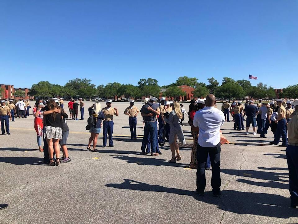 New Marines reunite with loved ones after 13 weeks apart following their final dismissal from recruit training at Parris Island May 7, 2021.