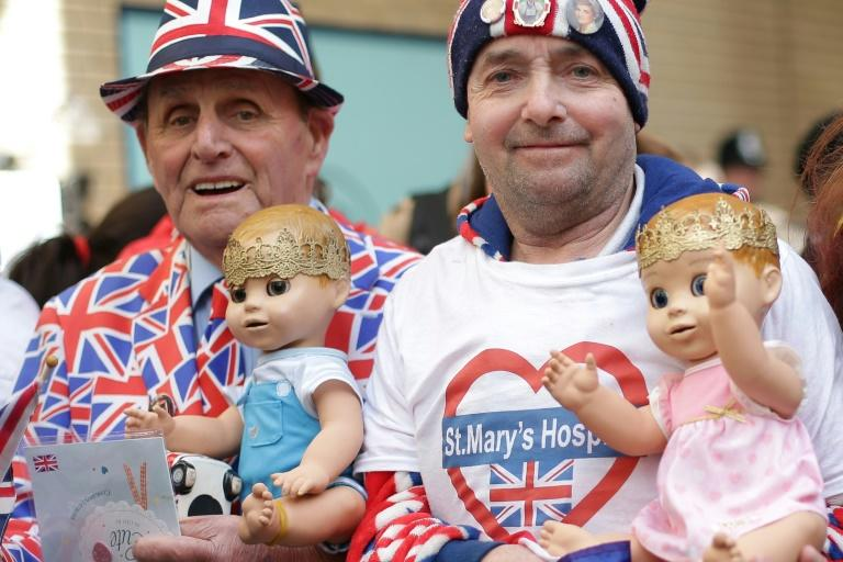 Happy royal fanatics waited outside St. Mary's Hospital in London for the news