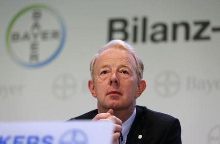 Bayer Management Board Chairman Dekkers looks on at a news conference in Leverkusen