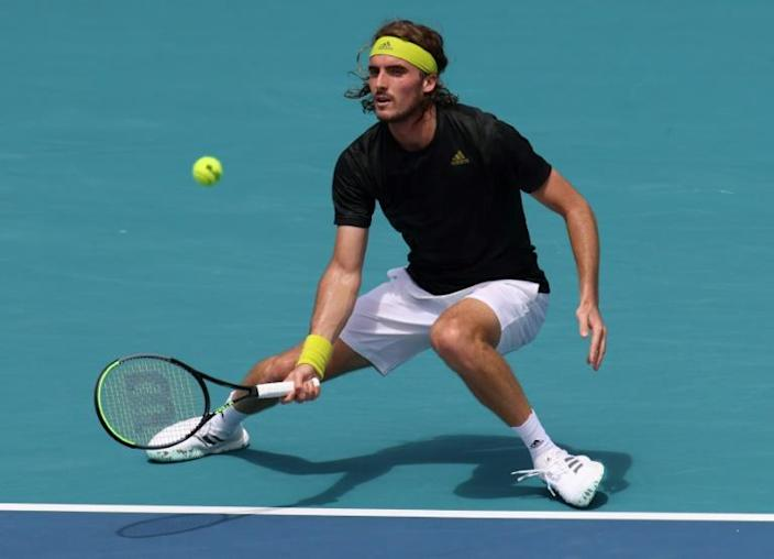 Second-seeded Stefanos Tsitsipas of Greece on the way to a second-round victory over Bosnian Damir Dzmhur at the Miami Open ATP Masters and WTA tournament