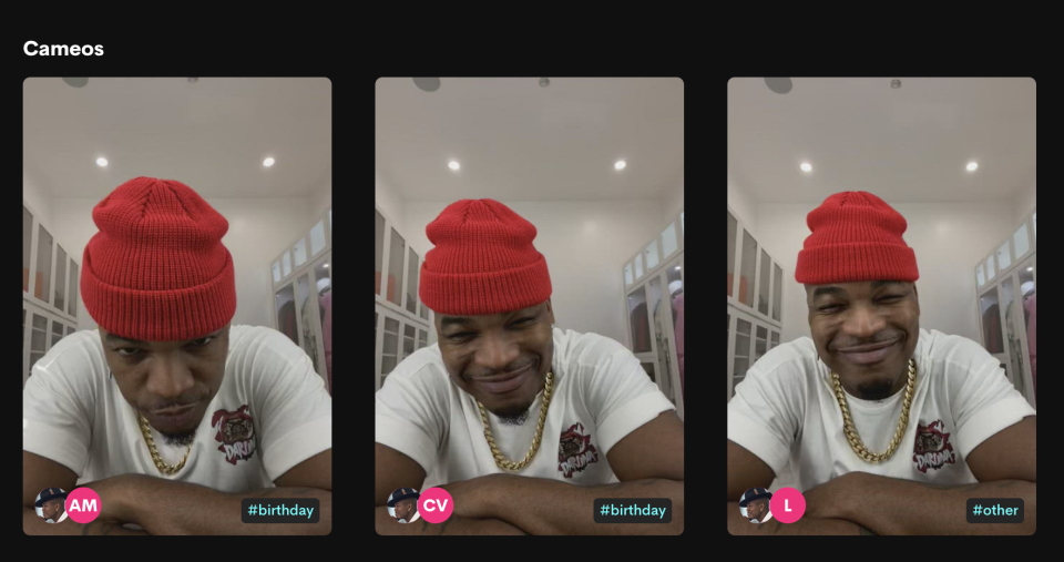 Screen grab from Ne-yo's Cameo page