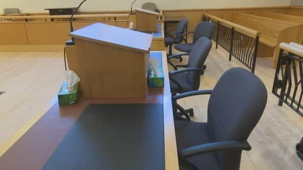 The interior of the Supreme Court of P.E.I. room where a jury trial has been taking place since Monday, May 11. Seating is limited by physical distancing requirements, with two-metre separation plans in place.