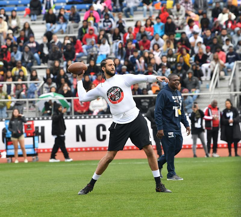 LILBURN GA- MARCH 31 Colin Kaepernick attends Huncho Day on the Nawf 2019 Team Huncho vs Team AK at Berkmar High School