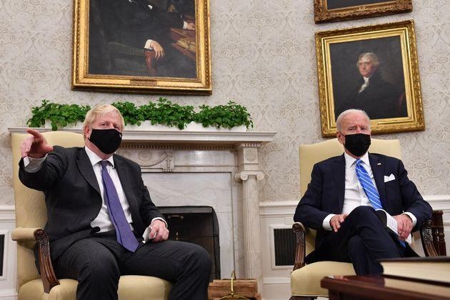 <strong>US president Joe Biden holds a bilateral meeting with UK prime minister Boris Johnson at the Oval Office of the White House in Washington.</strong> (Photo: NICHOLAS KAMM via Getty Images)