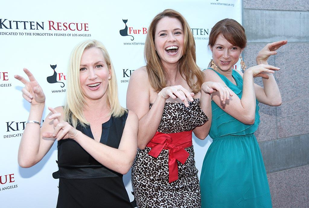"""""""The Office"""" co-stars Angela Kinsey, Jenna Fischer, and Ellie Kemper struck their best cat-like poses at the 3rd Annual Furball, which raises funds for <a href=""""http://www.kittenrescue.org/pages.php?pageid=109"""" target=""""new"""">Kitten Rescue</a> in Los Angeles. Fischer, who hosted the event, revealed that many of her castmates """"have pets on the show and most of us have rescued our pets. We found some kittens living underneath our wardrobe trailer last year, and I took them in and we named them Dunder and Mifflin."""" Anna Webber/<a href=""""http://www.wireimage.com"""" target=""""new"""">WireImage.com</a> - September 11, 2010"""