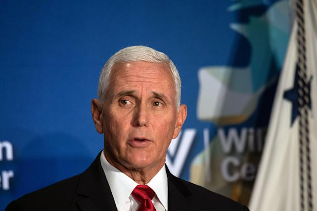 Vice President Mike Pence blasted the NBA in a speech at the Wilson Center. (Photo by NICHOLAS KAMM/AFP via Getty Images)