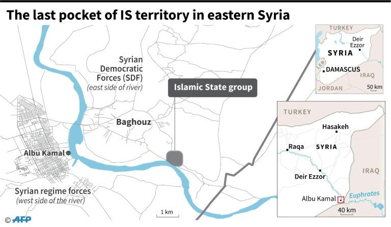 Map locating the last pocket of territory held by the Islamic State group in Syria