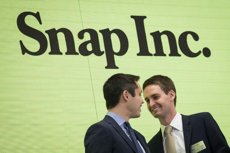 Snap CEO Evan Spiegel (R), seen in a 2017 picture, said the Snapchat platform will move to limit the reach of President Donald Trump because of comments promoting racial violence (AFP Photo/Drew Angerer)
