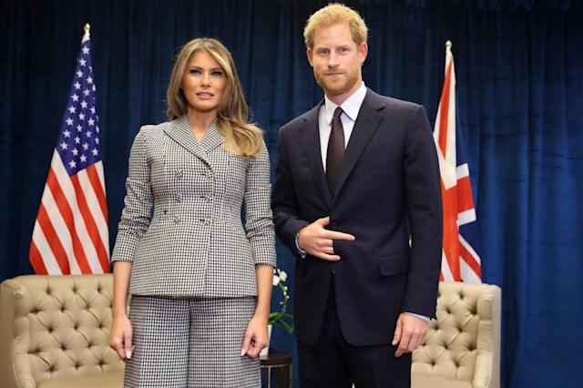 Prince Harry met Melania Trump at the Invictus Games in September 2017. (Photo: Getty)