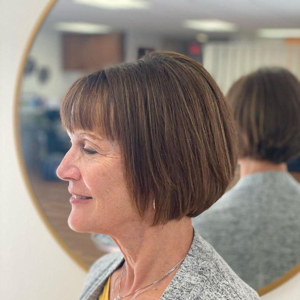 <p>Unlike the inverted bob, a classic bob is a great option for women with fine, thin hair, who want fullness but prefer their hair tapered away from their face, Amy Anderson, and owner of Amy Elizabeth Hair Design in Onalaska, Wisconsin, says. Her studio specializes in hair loss and healthy scalp treatments, along with being sustainable and organic.</p>