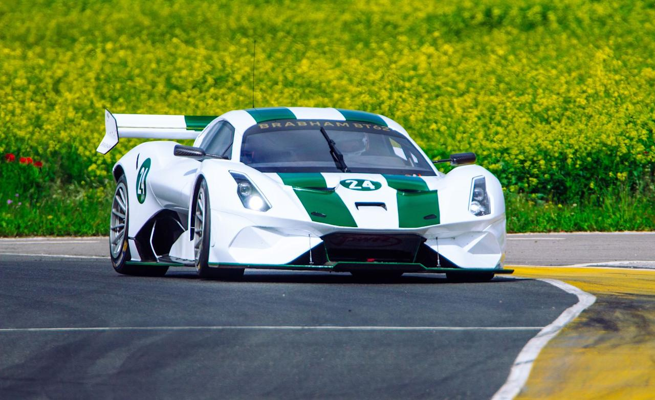 <p>Tasked with motivating the BT62's feathery mass is a naturally aspirated 5.4-liter V-8 that produces 700 horsepower and 492 lb-ft of torque.</p>