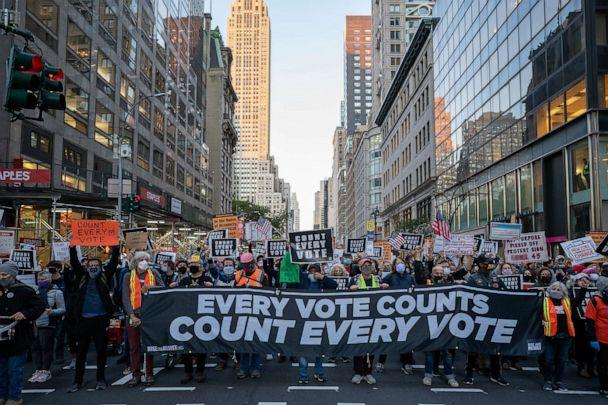 PHOTO: Protesters take to the streets as results of the presidential election remain uncertain on Nov. 4, 2020, in New York. (David Dee Delgado/Getty Images)
