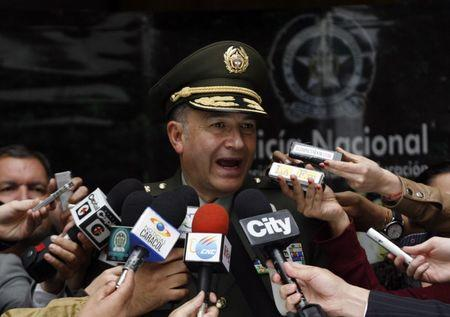 Colombia's Police Director General Oscar Naranjo speaks at a news conference on the march against kidnapping in Bogota