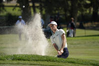 Will Zalatoris watches his shot out of a bunker up to the third green of the Silverado Resort North Course during the first round of the Fortinet Championship golf tournament Thursday, Sept. 16, 2021, in Napa, Calif. (AP Photo/Eric Risberg)