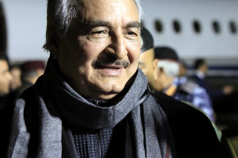 File picture of Field Marshal Khalifa Haftar, the leader of the self-styled Libyan National Army, who has met with UAE leaders for talks on military cooperation (AFP Photo/Abdullah DOMA)