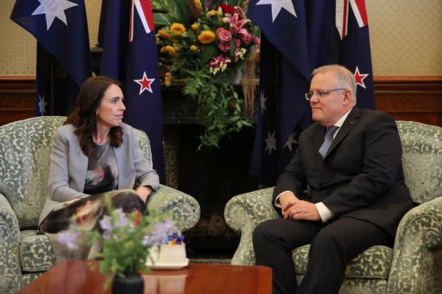 New Zealand Prime Minister Ardern meets with Australian Prime Minister Morrison at Admiralty House in Sydney