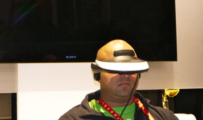 Sony's Personal 3D viewer looks as futuristic as you would expect from a head-mounted 3D movie theater. (Scott Ard/Yahoo! News)