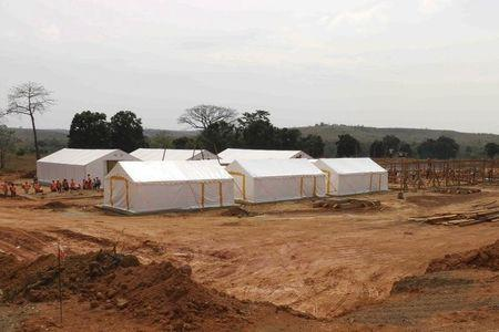 Newly-built Ebola treatment center is pictured in Beyla, Guinea