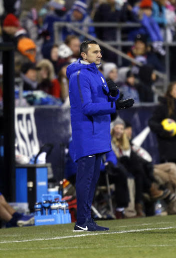 United States coach Vlatko Andonovski watches his team play against Sweden during the second half of a women's international friendly soccer match in Columbus, Ohio, Thursday, Nov. 7, 2019. (AP Photo/Paul Vernon)