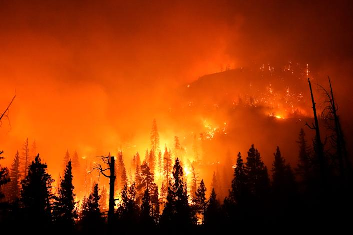 The Creek Fire burns in the Sierra National Forest on Sept. 6, 2020, near Big Creek, Calif.
