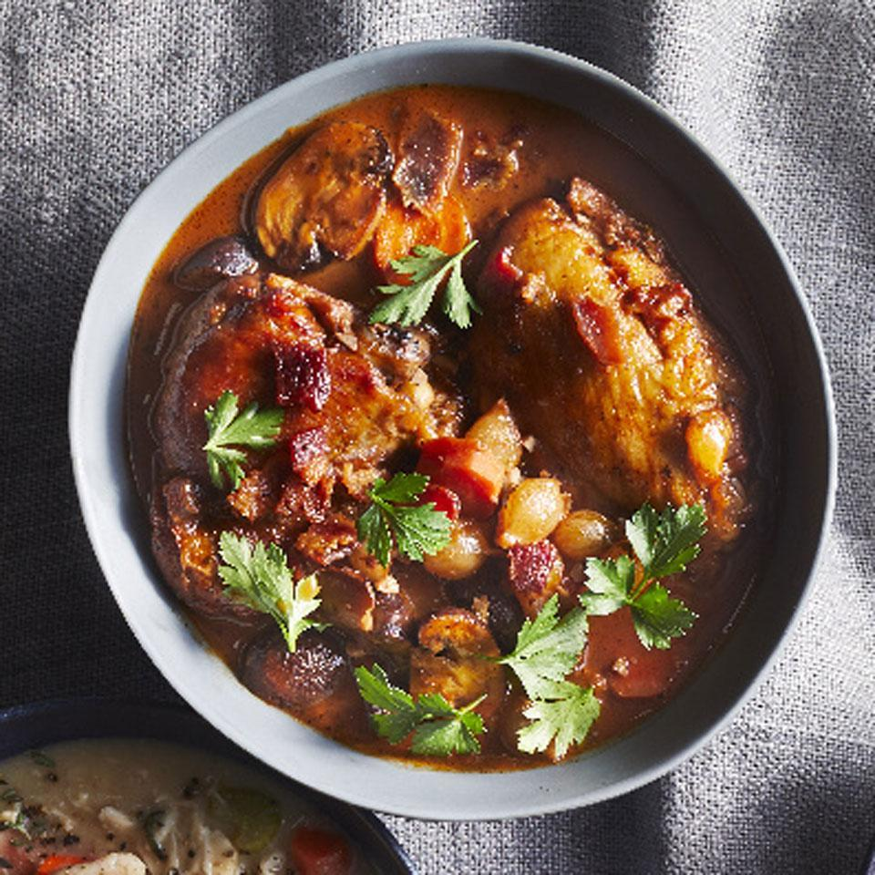 <p>This flavorful French chicken stew is all about the wine, so use a bottle that's so good you can enjoy a glass while you cook.</p>