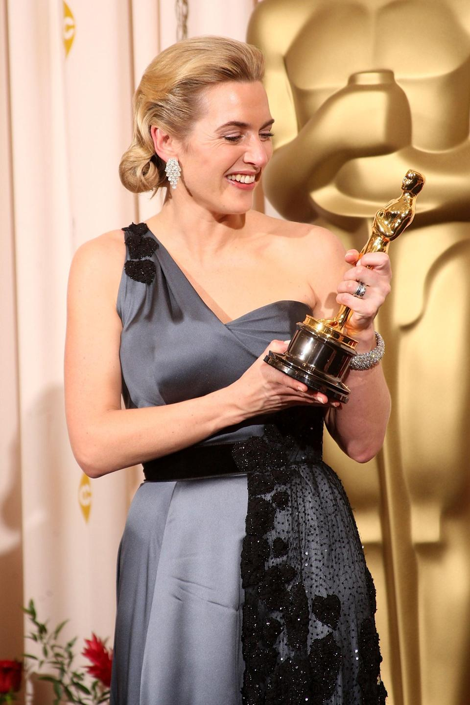 """<ul> <li><strong>Has:</strong> An Emmy for <strong>Mildred Pierce</strong>, an Oscar for <strong>The Reader</strong>, and a Grammy for """"Listen to the Storyteller""""</li> <li><strong>Needs:</strong> A Tony</li> </ul>"""