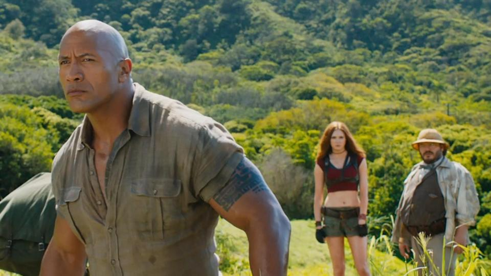 Dwayne Johnson, Karen Gillan and Jack Black in 'Jumanji: Welcome to the Jungle' (credit: Sony)