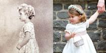 """<p><strong>LEFT:</strong> A young Princess Elizabeth poses for a portrait wearing a dress not unlike the ones Charlotte still wears today. </p><p><strong>RIGHT:</strong> Princess Charlotte attends <a href=""""https://www.goodhousekeeping.com/life/a20687056/pippa-middleton-husband-james-matthews/"""" rel=""""nofollow noopener"""" target=""""_blank"""" data-ylk=""""slk:her aunt Pippa Middleton"""" class=""""link rapid-noclick-resp"""">her aunt Pippa Middleton</a>'s wedding to James Matthews on May 20, 2017 in Englefield Green, England.</p>"""