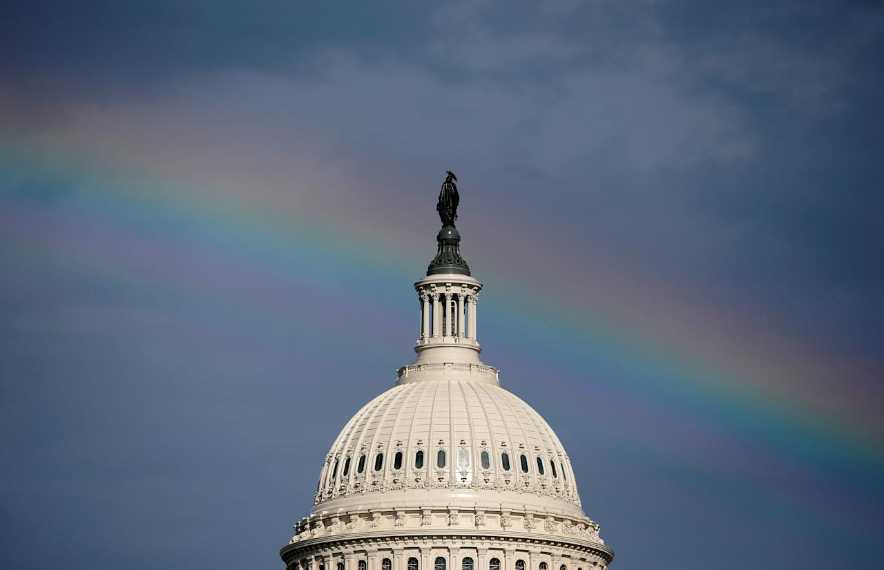 A rainbow shines over the U.S. Capitol in Washington, U.S. July 24, 2017.      REUTERS/Joshua Roberts     TPX IMAGES OF THE DAY