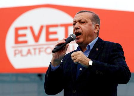 FILE PHOTO: Turkish President Erdogan addresses his supporters during a rally for the upcoming referendum in Istanbul