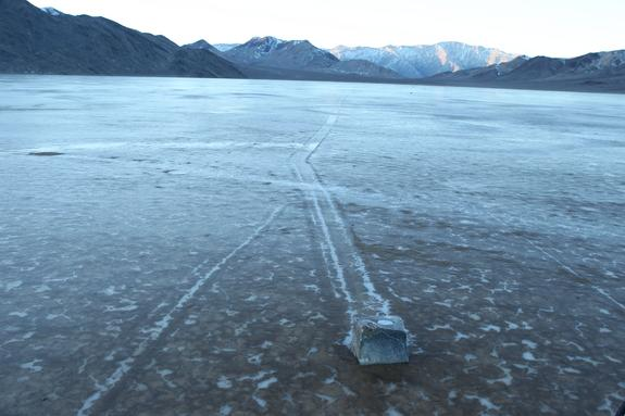 A GPS-mounted boulder leaves a trail on Racetrack Playa