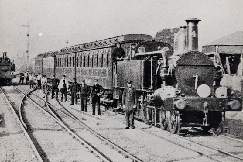 One of the early trains on the Metropolitan line: A Class locomotive No 4 ('Mercury'), circa 1868. (London Transport Museum)