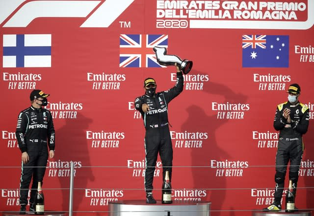 Lewis Hamilton claimed victory in the Emilia Romagna Grand Prix on Sunday