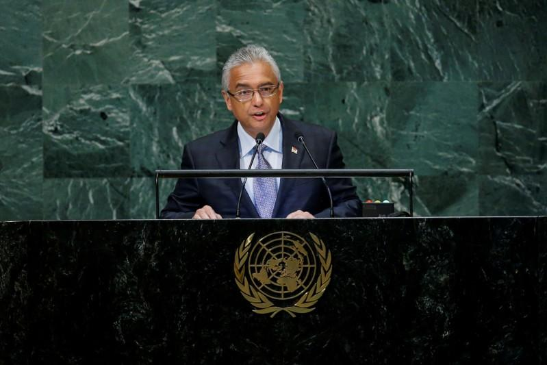 FILE PHOTO: Mauritius Prime Minister Kumar Jugnauth addresses the 73rd session of the United Nations General Assembly at U.N. headquarters in New York