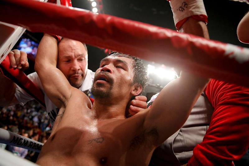 Manny Pacquiao's just reminding us of the fight that came too late. (AP)