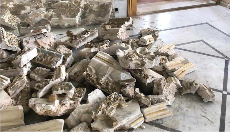 Chunks of fallen painted plaster from Fadlallah Dagher's house.