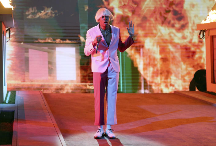 FILE - Tyler, the Creator performs at the 62nd annual Grammy Awards on Jan. 26, 2020, in Los Angeles. The rapper turns 30 on March 6. (Photo by Matt Sayles/Invision/AP, File)