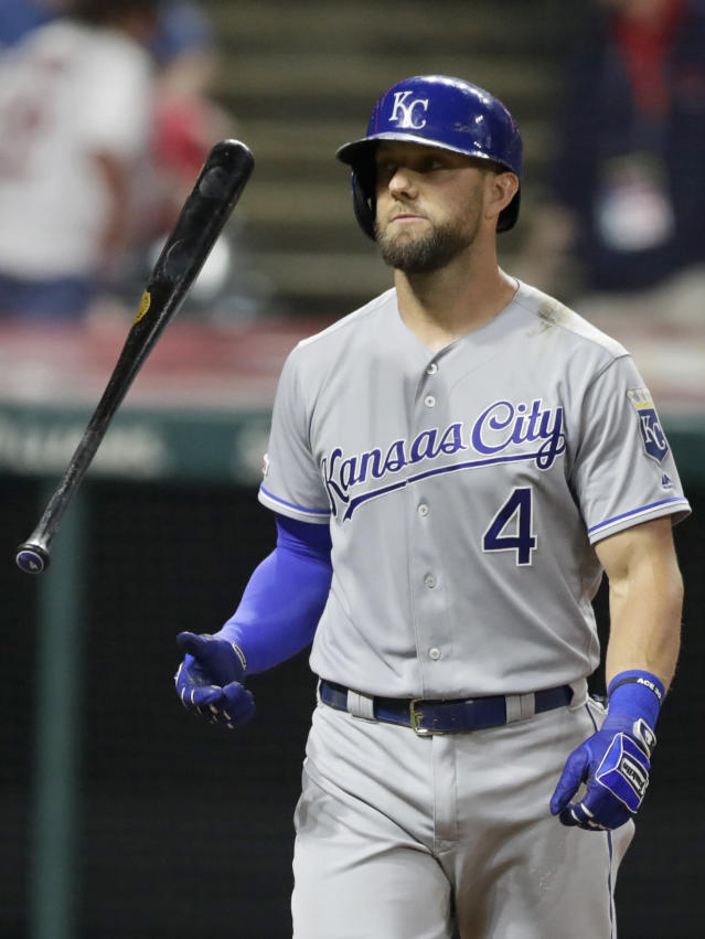 Kansas City Royals' Alex Gordon flips his bat after striking out in the sixth inning of a baseball game against the Cleveland Indians, Monday, June 24, 2019, in Cleveland. (AP Photo/Tony Dejak)